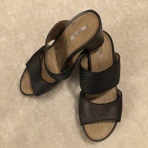 Geox black wedge slip on sandals